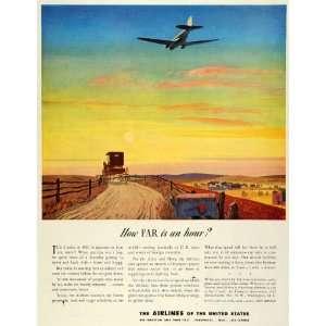 Airplane Stagecoach WWII War Army   Original Print Ad