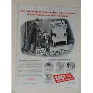 Easy Spindrier Washer. 40s full page print ad. (woman,dog,sleeping in