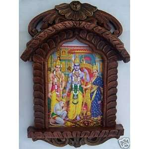Ram, Sita, Laxman & Januman, Painting in Traditional Jarokha, Wood