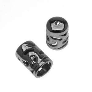 Gun Metal Bead/Cord End Caps With Openwork Vine Pattern 10.5x6.5mm (2