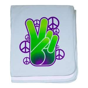 Baby Blanket Sky Blue Peace Symbol Sign Neon Hand