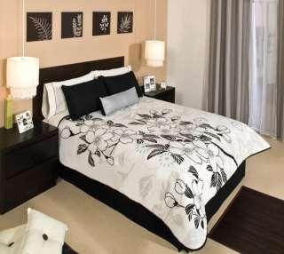 NEW Black Brown White Floral Comforter Bedding Bed Bag