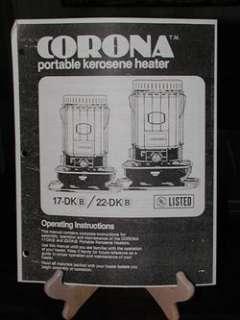 Corona 17 DK,22 DK Kerosene Heater Owners Manual