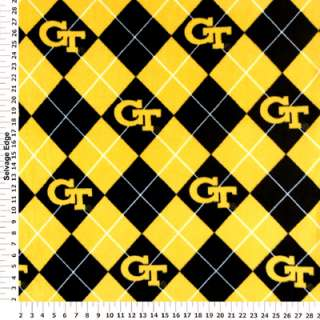 Collegiate   Georgia Tech Diamonds Fleece Fabric
