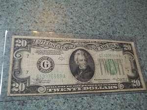 1934 A $20 Poker Straight Note Chicago Twenty Dollar GA |