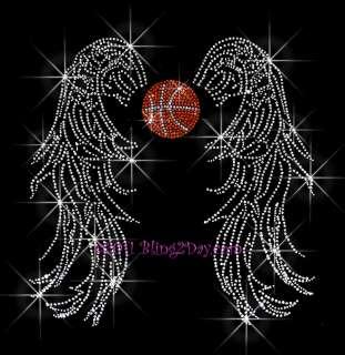 BASKETBALL ANGEL WING RHINESTONE IRON ON TRANSFER SPORT