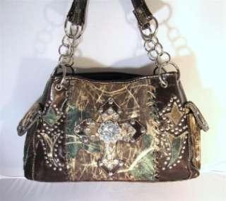 Brown Camouflage Western Cowgirl Rhinestone Bling Cross Handbag