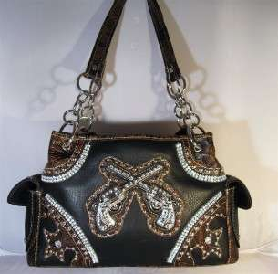 Black Western Rhinestone Crossed Guns Pistols Cowgirl Handbag Purse