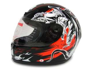 FULL FACE MOTORCYCLE STREET HELMET BLACK RACE MONSTER~M