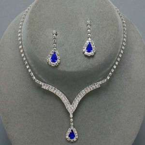 SAPPHIRE BLUE CRYSTAL WEDDING BRIDESMAID NECKLACE SET