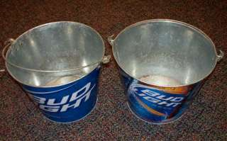 Two Budweiser Bud Light Beer Metal Ice Buckets Cooler / Tip Jars