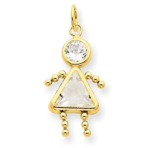 14k Gold April Girl Birthstone Charm: Jewelry