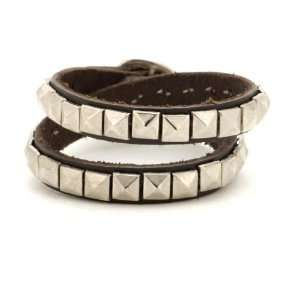 Brown stud leather bracelet silver spike ring wristband by