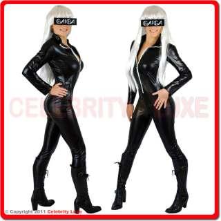 New Sexy Lady Gaga Catwoman Vinyl PVC Bodysuit Costume