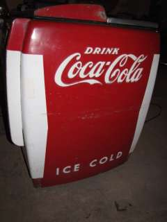 Rare White & Red Coca Cola Cooler Refrigerator Chest Home Decor