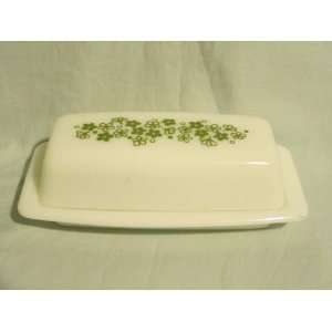 Pyrex Glass Covered  Spring Blossom or Crazy Daisy  Butter Dish