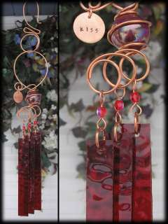 KISS Handmade Stamped Copper Wind Chimes Stained Glass Garden Art