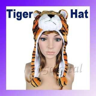 Cartoon Tiger Animals Cute Plush Fluffy Costume Hat Cap