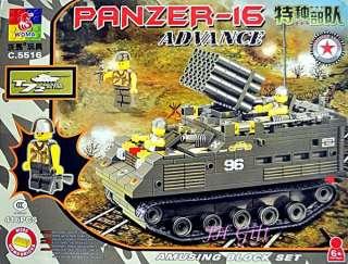 Army Combat Tank Panzer16 Minifigures Military Battle Building Block
