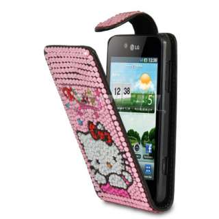 Designer Range   Hello Kitty Leather Bling Case for LG Optimus 3D P920