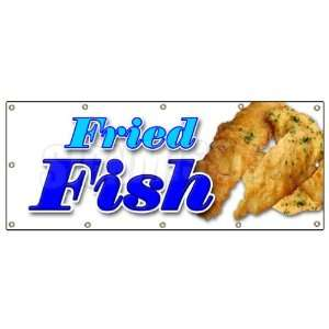 48x120 FRIED FISH BANNER SIGN fry fish deep seafood sea food