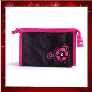 Fashion Lady Makeup Cosmetic Hand Case Zipper Pouch Bag Black Flower