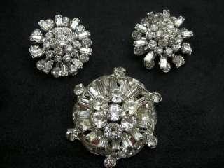 WEISS Rhinestone Snowflake Pin Brooch & Earrings FAB