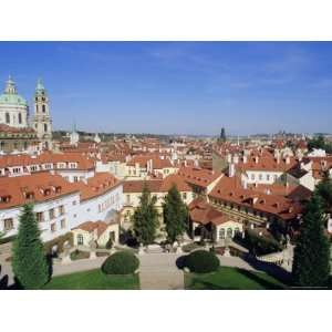 Baroque St. Nicholas Church and Mala Strana Roofs from