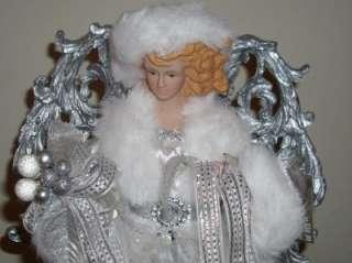 Extra Large Christmas Tree Angel * White Velvet w/Silver detail