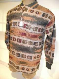 Mens Joe Bloggs LS Polo Golf Sweater Shirt Blue Green Print NWT Super