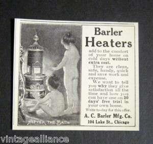 1906 AC Barler Heaters Little Girls Warm After Bath Ad