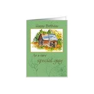 Happy Birthday Special Guy Cabin Watercolor Card Health