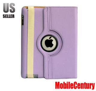 iPad 2 Purple Smart Cover Leather Case Rotating Stand