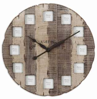Rustic 24 Wood Photo Holder Picture Frame Wall Clock