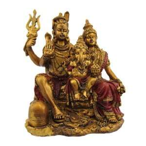 Gold Hindu God Family Statue Ganesh Shiva Parvati: Home & Kitchen