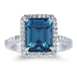 70 Carat Emerald Cut London Blue Topaz Women Wedding Engagement