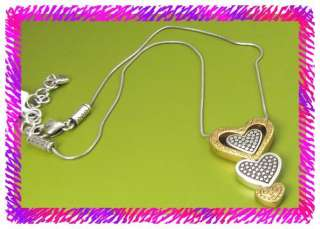 BRIGHTON Silver GOLDEN LOVE HEART Necklace NWtag