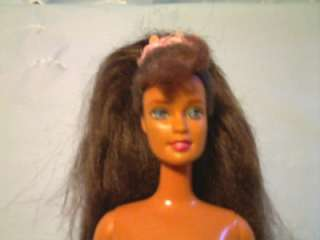 MATTEL BARBIE DOLL 1990 LONG BROWN HAIR IN PONYTAIL