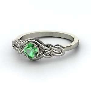 Sailors Knot Ring, Round Emerald Palladium Ring Jewelry