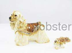 enamel american cocker spaniel dog keepsake trinket box high quality