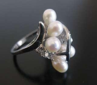 AN38 bagues perles blanc deau douce