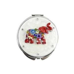 Red Ivory Crystal Rhinestone Enamel Elephant Double Compact Purse