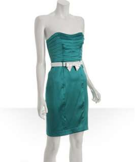 Betsey Johnson turquoise stretch silk belted sheath dress   up