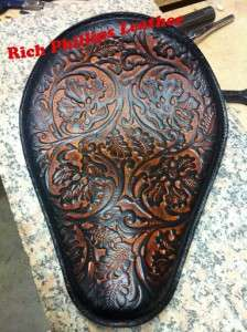 Leather Solo Motorcycle Seat Sportster Harley Chopper Bobber ABOL