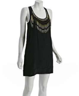 Chelsea Flower black silk beaded fringe tank dress