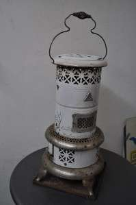 PERFECTION WHITE PORCELAIN COATED PARLOR STOVE OIL HEATER