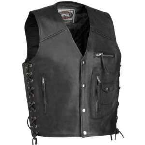 River Road 4 Pocket Mens Black Leather Motorcycle Vest   Frontiercycle