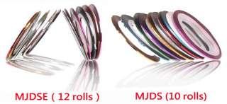 12 & 10 COLORS ROLLS NAIL ART UV GEL TIP STRIPING TAPE LINE DECORATION