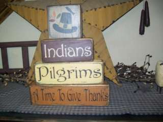 PRIMITIVE FALL BLOCK SIGN~INDIANS~PILGRIMS~GIVE THANKS~