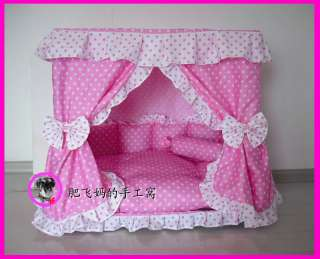 Charm Princess Pet Dog Cat Handmade Bed House Kennel + 1 Candy Pillow